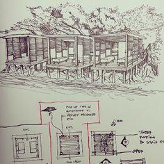 Found my own sketched for villa 360 Phi Phi. #sketch #drawing #architecture #architecturelovers #interior #design #designhotels #hotel #resort #massage #deck #wooden #mountain #sea #villa #360 #phi #krabi #perspective #thailand #3arch @kaew_pi