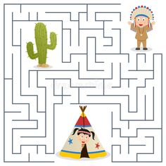 American Indians Maze for Kids. American indians or natives maze game for childr , Fun Worksheets For Kids, Mazes For Kids, Craft Activities For Kids, Crafts For Kids, Native American Games, American Indians, Indiana, Arrow Crafts, Indians Game