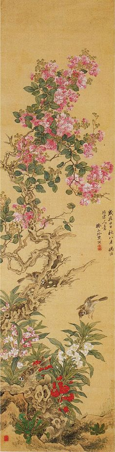 Birds and Flowers by Tsubaki Chinzan (1801-1854), Japan 椿椿山
