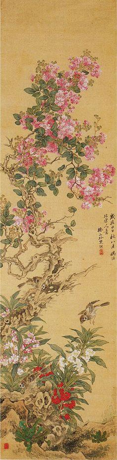 Birds and Flowers by Tsubaki Chinzan (1801-1854), Japan 椿椿山