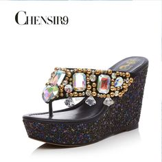 CHENSIR9 Summer String Bead Flip Flops Super High Shining Wedges Platform Wedges Sandals Casual Slippers Women Shoes 34 39 AF16B-in Slippers from Shoes on Aliexpress.com | Alibaba Group