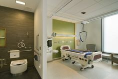 Image 9 of 18 from gallery of Kaleida Health Gates Vascular Institute / Cannon Design. Photograph by Bjorg Magnea Architectural & Interior Healthcare Architecture, Healthcare Design, Health Care Hospital, Turquoise Kitchen Decor, Medical Office Design, Hospital Room, Hospital Design, Clinic Design, Kids Health