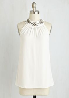 Let it Shimmer Top - White, Solid, Beads, Special Occasion, Wedding, Party, Girls Night Out, Daytime Party, Luxe, Halter, Woven, Better, Halter, Mid-length