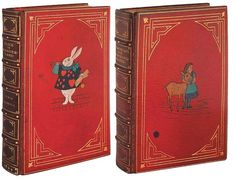 Bound Together with Through the Looking Glass by Bayntun in full red crushed morocco. Published: Macmillan and Co., Limited, London, 1869 & 1872