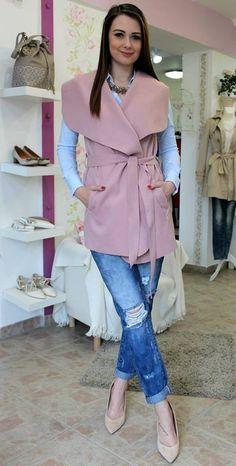 Powder waistcoat Sweater Jacket, Powder, Coats, Sweaters, Jackets, Fashion, Bebe, Down Jackets, Moda