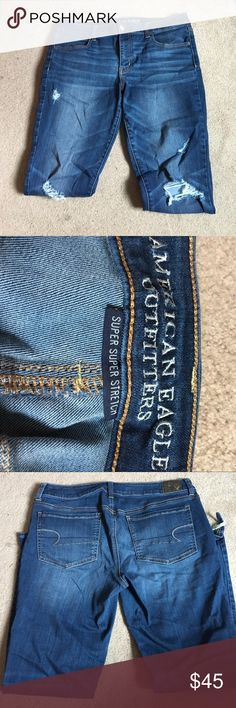 American Eagle Jegging American Eagle Jegging -Classic low rise -Size 14 regular length / super stretch -Distressed look/ has knee holes and rips at the bottom of each leg opening -Barely worn(no rips or damages), they just don't fit anymore American Eagle Outfitters Jeans