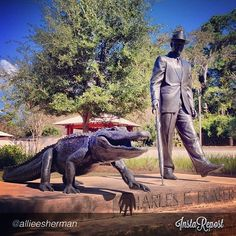 Charles E. Fraser & Alligator Statue at the Compass Rose Park, Hilton Head Island, SC, Photo by @allieesherman, via Instagram