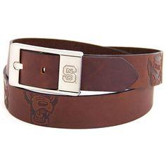 Men's North Carolina State Wolfpack Brandish Leather Belt, Size: 34, Brown