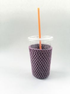 medium mauve iced coffee cozy. crochet cup sleeve. cotton cup cozy. Eco friendly cup cozy. Summer drink jacket. light purple iced cup cozy. by SalemStyle on Etsy https://www.etsy.com/listing/287252729/medium-mauve-iced-coffee-cozy-crochet