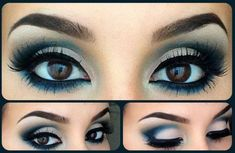 101 Eye Make Up Tutorials From Around The World - White and Navy eyeshadow black liner