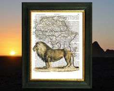 Extinct Barbary Lion on antique map of Africa. Art print on antique book page. 212 year old paper. Vintage text art.