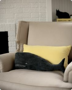 whale pillow by Emily Anderson via Unruly Things