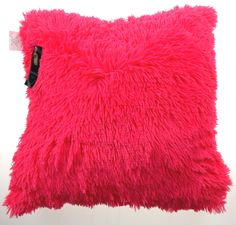 Luxury Home Textiles Shaggy Neon Pillow Pink Shag 20x20 Polyester