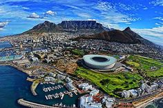 Cape Town- with the mountains: Devils Peak, Table Mountain, Lions Head and Signal Hill. Love that city!