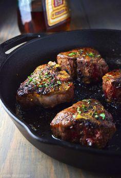 Cast Iron Lamb Loin Chops with Cognac Butter Sauce Recipe