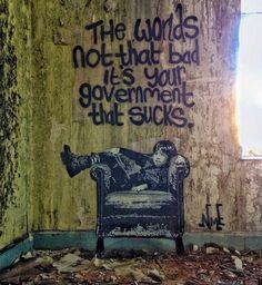 """The World's Not That Bad"" by NME in Dawlish, UK art art graffiti art quotes Street Art Banksy, Banksy Graffiti, Street Art Quotes, Bansky, Urbane Kunst, Political Art, Wow Art, Quote Art, Chalk Art"