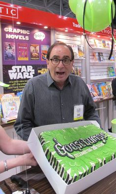 My son loves the Goosebump series.  RL Stine reacts in mock horror to 20th Anniversary, BEA 2012.
