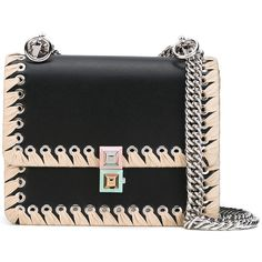 Fendi small Kan I bag ($2,200) ❤ liked on Polyvore featuring bags, handbags, shoulder bags, black, locking purse, chain strap purse, genuine leather shoulder bag, real leather handbags and two tone purse