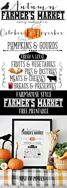 Autumn Farmer's Market Printable free download and perfect to use in any room of your home. (Favorite Fonts Free)