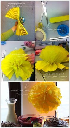 PomPom-Bastelei (DIY-Anleitung will make a bunch of these with clusters of paper lanterns for kids room Tissue Paper Ball, Paper Balls, Diy For Kids, Crafts For Kids, Diy Paper, Paper Crafts, Diy Pinterest, Tutorial Diy, Paper Lanterns