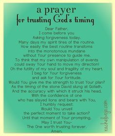 Prayer for trusting God's timing - by Rachel Wojo Prayers and how to pray Prayer Scriptures, Bible Prayers, Faith Prayer, Prayer Quotes, My Prayer, Spiritual Quotes, Bible Quotes, Prayer For Love, Prayer Wall