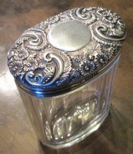 Antique Cut Glass Vanity Jar With Sterling Repousse Lid, Circa 1900