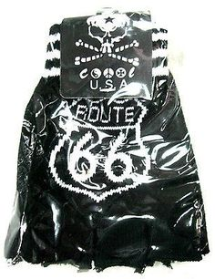 BLACK WITH WHITE ROUTE 66 SIGN CUTOFF KNIT FINGERLESS GLOVES WINTER WOMENS GIRLS