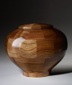 100 of the World's Most Beautiful Wood Cremation Urns:  Segmented Walnut Wood Hand Turned Memorial Urn