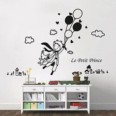 QJX- Wall Stickers Wall Decals, Modern The little prince and balloon PVC Wall Stickers , Orange