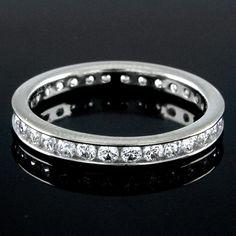 0.75ct Round Cut VVS1 Diamond White Gold Eternity Band Ring Size 8 #Diamantjewels #EternityBand