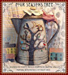 Pintura con patrón de amigos  árbol de cuatro por appletreecottage