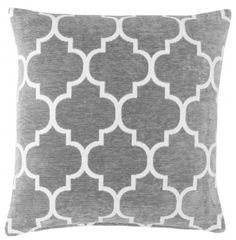 Grey & White 17″ Luxury Chenille Moroccan Design Geometric Cushion Cover | Red Rainbow Cushions