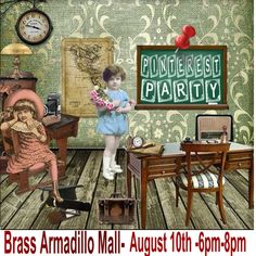 Brass Armadillo Mall in Phoenix,Az. is hosting a Pinterest Party...August 18th from 12noon - 2PM.  Watch for upcoming hints about our Pinterest Scavenger Hunt!