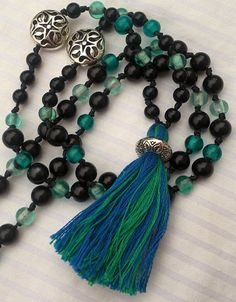 Happymala necklace black and turquoise glass/stone by happymala Handmade Jewelry, Unique Jewelry, Handmade Gifts, Turquoise Glass, Stone Beads, Tassel Necklace, Jewerly, Yoga, Trending Outfits