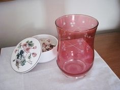 Cranberry LSA Glass Vase Cherry Cut Design by CrystalCoaster