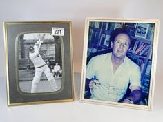 201) Two framed and signed photographs of Geoffrey Boycott Est. £5-£10