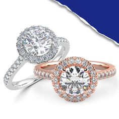 Our Halo Engagement Collection radiates with sparkle and light. A crown of diamonds is intricately set onto a frame surrounding your center diamond. The diamonds around the center stone add brilliant sparkles and enlarge the diamond. Halo Collection, Halo Diamond Engagement Ring, Sparkles, Diamonds, Crown, Jewels, Stone, Frame, Picture Frame
