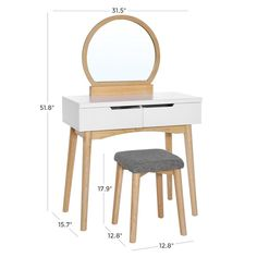 VASAGLE Vanity Table Set with Round Mirror 2 Large Drawers with Sliding Rails Makeup Dressing Table with Cushioned Stool, Natural and White Vanity Mirror, Vanity Set With Mirror, Mirror Stool, Vanity Table Set, Wood Vanity, Makeup Dressing Table, Vanity Table, Table, Vanity Set