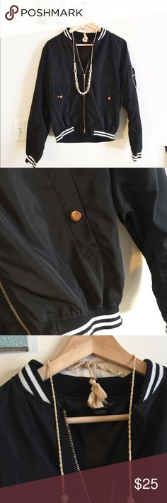 Stripped collar bomber Size M. NWOT. Material: polyester Wet Seal Jackets & Coats