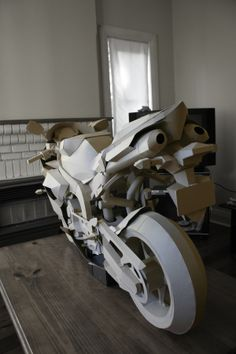 cardboard motorcycle by Jack Chen, via Behance