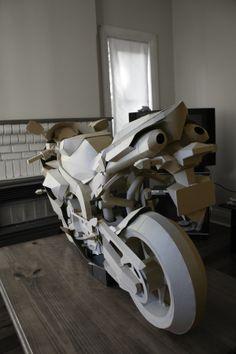 cardboard motorcycle by Jack Chen, via Behance