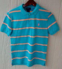 NEW Boys Polo Ralph Lauren Blue ORANGE Striped Short Sleeve Shirt L(14-16) YOUTH #PoloRalphLauren #Dressy