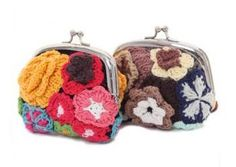 Floral crocheted change purse.