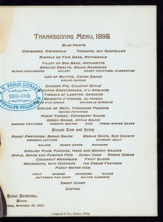 Vintage Thanksgiving Menu: Hotel Vendome, Massachusetts, 1895 Serving lots of turkey and also some cigarettes. Vintage Thanksgiving, Thanksgiving Parties, Thanksgiving Side Dishes, Happy Thanksgiving, Vintage Menu, Vintage Recipes, Vintage Food, Wedding Vintage, Vintage Stuff