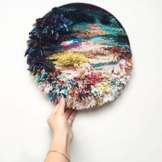 Lunar Eclipse Weaving Handwoven, one-of-a-kind round wall hanging. Ready to hang. The materials used in this piece are mostly reclaimed and recycled. Made in Portland, Oregon. Weaving Wall Hanging, Weaving Art, Loom Weaving, Tapestry Weaving, Hand Weaving, Wall Hangings, Weaving Textiles, Design Textile, Textile Art