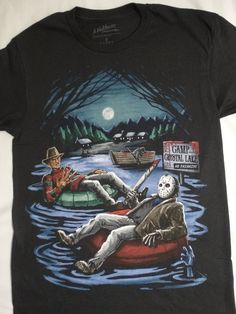 6b701e998 Details about Freddy Krueger and Jason Voorhees In Inner Tube Camp Crystal  Lake Horror T-Shirt