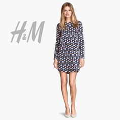 HP 4.20 H&M Geo Print Long Sleeve Dress Long-sleeves dress in sweatshirt fabric. Concealed zip at back of neck and gently rounded hem. Excellent used condition! H&M Dresses Long Sleeve