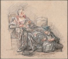 Woman reading and a girl playing (presumably the Marquise de Pompadour with her daughter Alexandrine), 1748, Francois Guerin