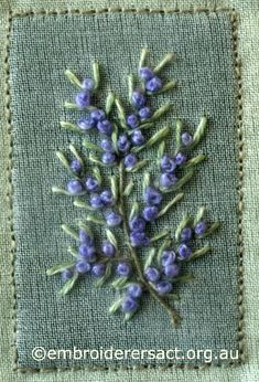 Blue Knot Flowers from Australian Landscape and Flora stitched by Lorna Loveland