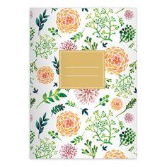 Blüten reiches Notizheft/ Schulheft mit Aquarell Blumen in orange grün